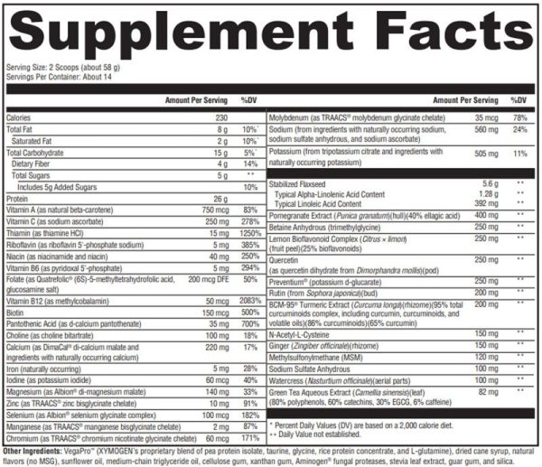 Xymogen OPtiCleanse GHI Chai Supplement Facts