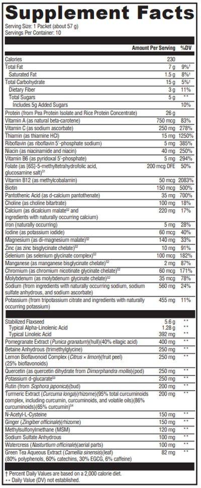 Xymogen OptiCleanse GHI Vanilla Delight 10 Servings Supplement Facts