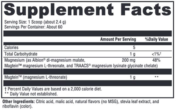 Xymogen OptiMag Neuro Lemon-Lime Supplement Facts