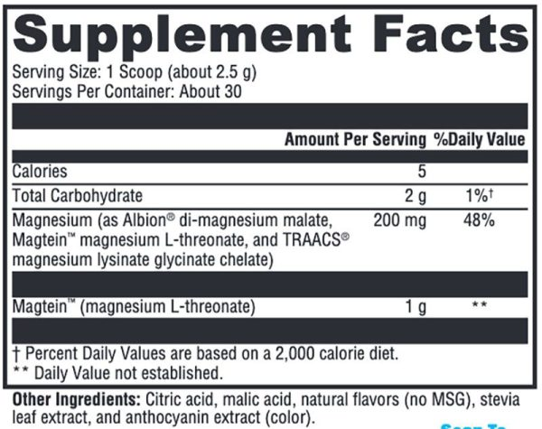 Xymogen OptiMag Neuro Mixed Berry Supplement Facts