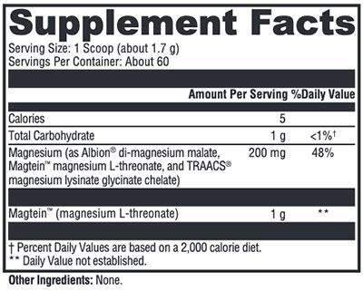 Xymogen OptiMag Neuro Unflavored Supplement Facts