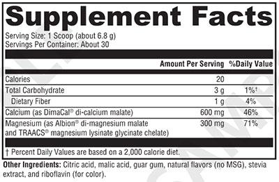 Xymogen OptiMag Plus Calcium Pear Supplement Facts