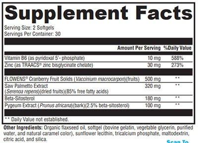 Xymogen Prostate FLO Supplement Facts