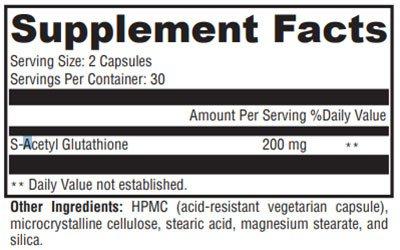 Xymogen S-Acetyl Glutathione Supplement Facts