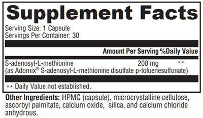 Xymogen SAM-e Supplement Facts