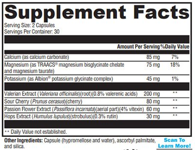 Xymogen SynovX Calm Supplement Facts