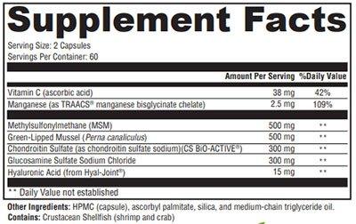 Xymogen SynovX DJD Supplement Facts