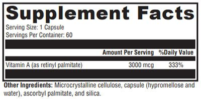 Xymogen Xcellent A 3000 Supplement Facts