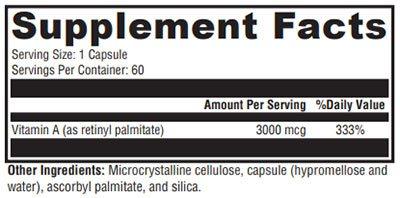 Xymogen Xcellent A 3000 Supplement Facts