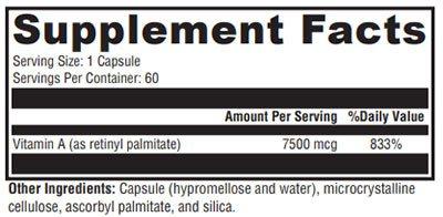 Xymogen Xcellent A 7500 Supplement Facts